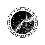 Mission de logo de Mars Exploration de la galaxie et de l'espace astronomiques Aventure pour l'astronaute d'astronaute Planète et illustration de vecteur