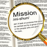 Mission Definition Magnifier Showing Task Goal Or Assignment To Royalty Free Stock Image