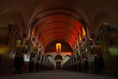 Nave of mission dolores in orange light stock image