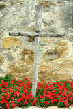 Mission Espada. This is a wooden cross next to the front door of Mission Espada in San Antonio, Texas. This mission is part of the National Historical Park Stock Images