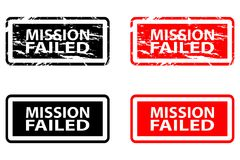 Mission failed rubber stamp. Mission failed - rubber stamp - vector - black and red vector illustration