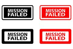 Mission failed rubber stamp stock illustration