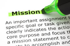 Mission Highlighted With Green Marker. Dictionary definition of the word Mission highlighted with green marker pen Stock Images