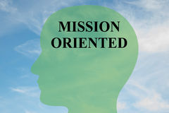 Mission Oriented concept. Render illustration of MISSION ORIENTED script on head silhouette, with cloudy sky as a background Royalty Free Stock Photos