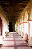 Mission Portico. Morning on the portico at Mission Santa Barbara, California royalty free stock photo