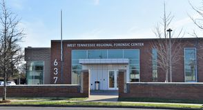 West Tennessee Regional Forensic Center, Memphis, TN. The mission of the Regional Forensic Center is to investigate sudden, unexpected and unnatural deaths with stock photo