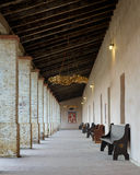 Mission San Antonio de Padua. Arcade, or covered walkway in the courtyard of the Mission San Antonio de Padua on Mission Creek Road near Jolon, California Royalty Free Stock Image