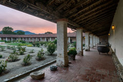 Mission San Antonio de Padua courtyard at sunset Royalty Free Stock Photos