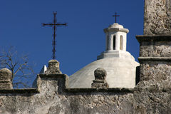 Mission San Jose. In San Antonio Texas showing dome and deep blue sky Royalty Free Stock Image