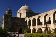 Mission San Jose. In San Antonio Texas showing dome and deep blue sky Royalty Free Stock Photo