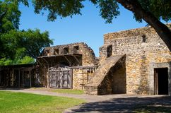Wall and gates with buttress, Mission San Jose. Mission San Jose is part of the San Antonio Missions World Heritage Site in Texas Stock Photos