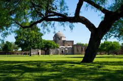 Mission San Jose and lawn. Mission San Jose, part of the San Antonio Missions World Heritage Site in Texas Royalty Free Stock Images