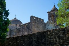 Mission San Jose and wall. Mission San Jose, part of the San Antonio Missions World Heritage Site in Texas Stock Photography