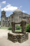 Mission San Jose vertical. Exterior of Mission San Jose in San Antonio Texas Stock Photo