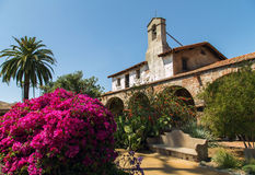 Mission San Juan Capistrano. Gardens and structures of the Mission San Juan Capistrano that was founded in 1776. Today this beautiful structure and grounds greet Royalty Free Stock Photo