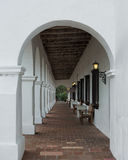Mission San Luis Rey arcade. Arcade, or covered walkway, at Mission San Luis Rey de Francia on Mission Avenue in Oceanside, California Stock Photo