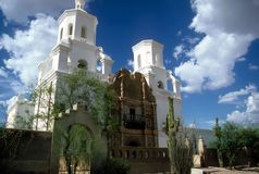 Mission San Xavier del Bac. Is located nine miles south of Tucson, Arizona. The structure was was built from 1783 - 1797 by the Franciscan Fathers Juan Bautista royalty free stock image