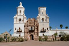 Mission San Xavier del Bac. Front of Mission San Xavier del Bac at Tucson, Arizona Royalty Free Stock Image