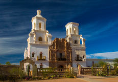 Mission San Xavier del Bac. Front View Of Mission San Xavier del Bac, Historic Landmark And Pilgrimage Site On The Tohono O`odham Indian Reservation, Arizona Royalty Free Stock Photography