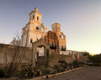 Mission San Xavier del Bac in Tucson, Arizona. Sunrise at the San Xavier Mission, a classic example of colonial Spanish mission architecture Stock Images