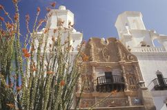 The Mission San Xavier Del Bac was erected between 1783 and 1897 in Tucson Arizona stock images