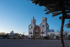 Mission San Xavier del Bal. Mission San Xavier del Bac is a historic Spanish Catholic mission located about 10 miles south of downtown Tucson, Arizona, on the Stock Photography