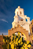 Mission San Xavier at Sunset. Sunset highlights cactus and archway at Mission San Xavier, near Tucson, Arizona Stock Photos