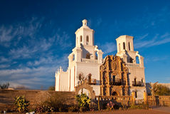 Mission San Xavier at Sunset. Sunset highlights Mission San Xavier, near Tucson, Arizona Royalty Free Stock Image
