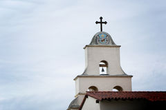 Mission Santa Barbara. Tower with bell and cross that make   up part of the the Santa Barbara Mission Stock Photos