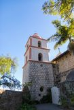 Mission Santa Barbara Bell Tower. The Old Mission Santa Barbara in California showing elements of Roman, Greek, and Spanish Colonial architecture Royalty Free Stock Photo