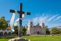 Mission Santa Barbara with cross and sky blue background Royalty Free Stock Image