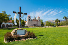 Mission Santa Barbara with cross and sky blue background Royalty Free Stock Photography
