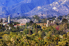 Mission Santa Barbara Mountains Palm Trees California Royalty Free Stock Photography