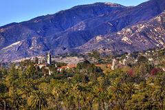 Mission Santa Barbara Mountains Palm Trees California Royalty Free Stock Photo