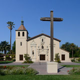 Mission Santa Clara. Exterior of the front entrance to the Mission Santa Clara De Asis on the campus of Santa Clara University on El Camino Real in Santa Clara Stock Photography