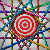 Mission Teamwork goal. Concept and common goals symbol as a group of rope elements holding a target as a business or company metaphor for team vision Stock Image