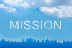 Mission text on clouds Stock Image