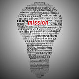 Mission text collage Composed in the shape of bulb Stock Photos