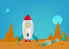 Mission to another planet like mars with a small colony of men from earth. Editable Clip art. Royalty Free Stock Photos