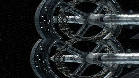 Mission to Saturn. Vertical anamorphic stereo pair, 3d animation of great spaceship. Texture of the planet was created
