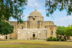 Mission Through the Trees. Though the trees view of a mission in San Antonio, Texas Royalty Free Stock Photography