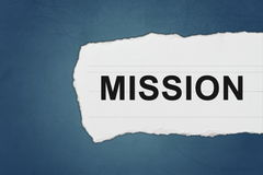 Mission with white paper tears Stock Photos