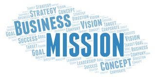 Mission word cloud. Wordcloud made with text only royalty free illustration