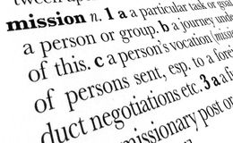 Mission word dictionary term. Mission word dictionary definition in great perspective Royalty Free Stock Image