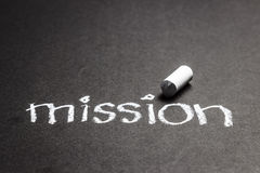 Mission. Word handwritten with chalk Royalty Free Stock Photography