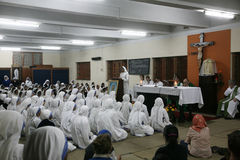 Missionaries of Charity of Mother Teresa at Mass in Mother House, Kolkata Stock Photography