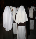 Missionary nuns waiting inside the cathedral. Royalty Free Stock Photos