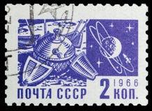 Missione spaziale e la luna Fotografie Stock Libere da Diritti