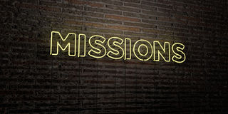 MISSIONS -Realistic Neon Sign on Brick Wall background - 3D rendered royalty free stock image. Can be used for online banner ads and direct mailers Stock Photo