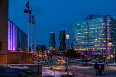 Mississauga, Καναδάς, στις 14 Φεβρουαρίου 2019: Οι δίδυμοι πύργοι απόλυτου Condos μέσα, αυτά τα condos Mississauga πολυόροφων κτι στοκ εικόνες με δικαίωμα ελεύθερης χρήσης